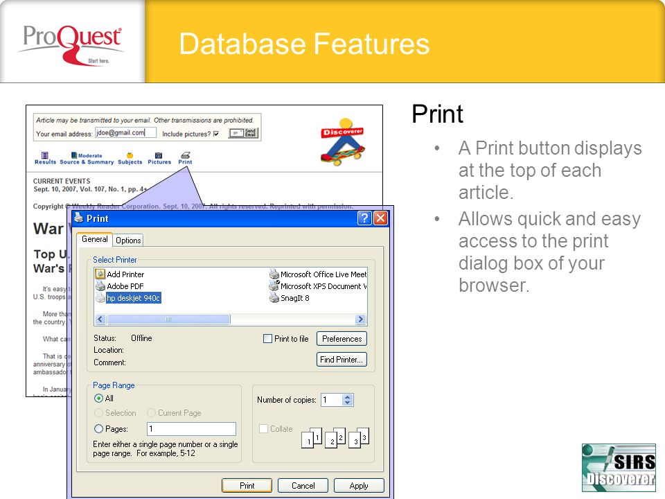 Database Features Print