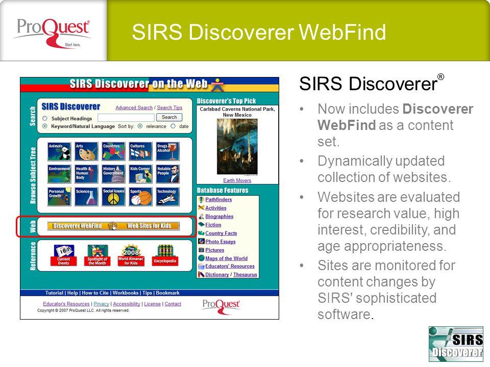 SIRS Discoverer WebFind