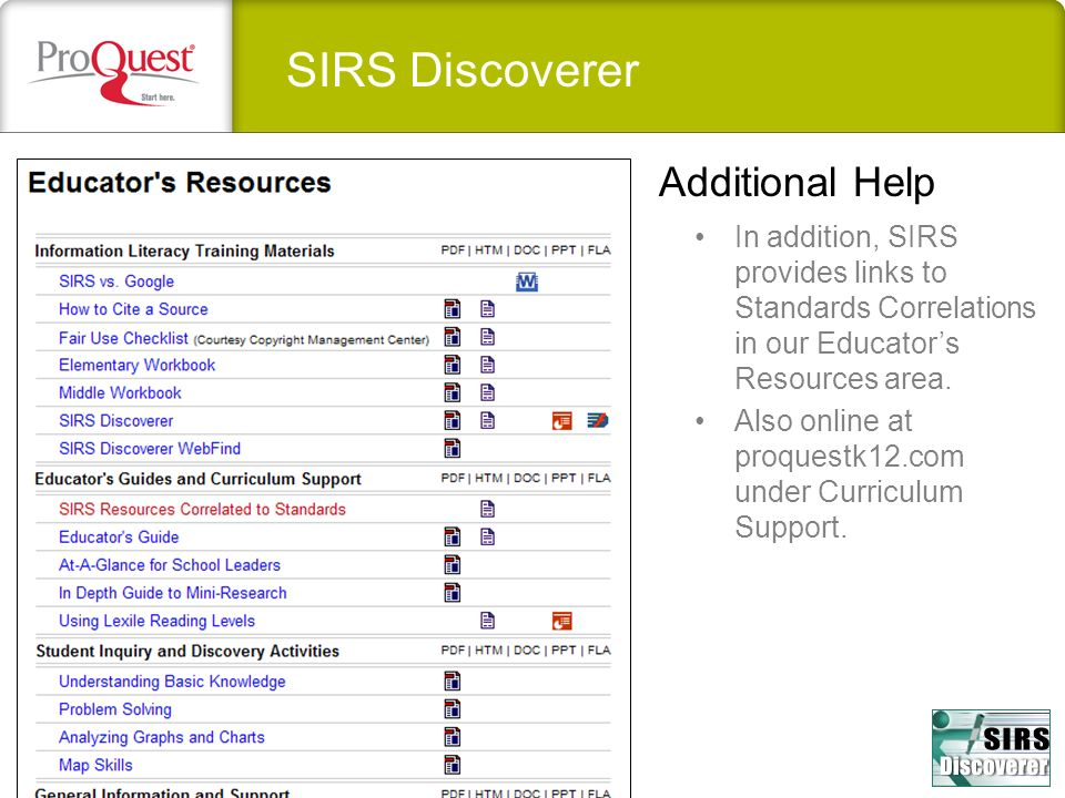 SIRS Discoverer Additional Help