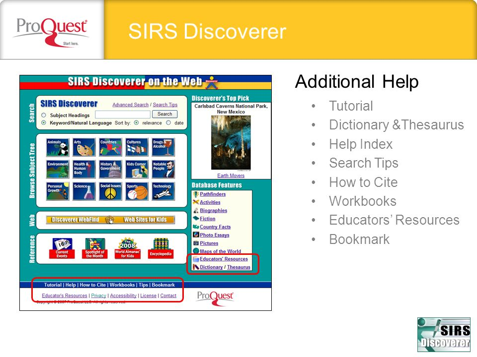 SIRS Discoverer Additional Help Tutorial Dictionary &Thesaurus