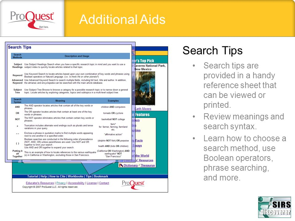 Additional Aids Search Tips