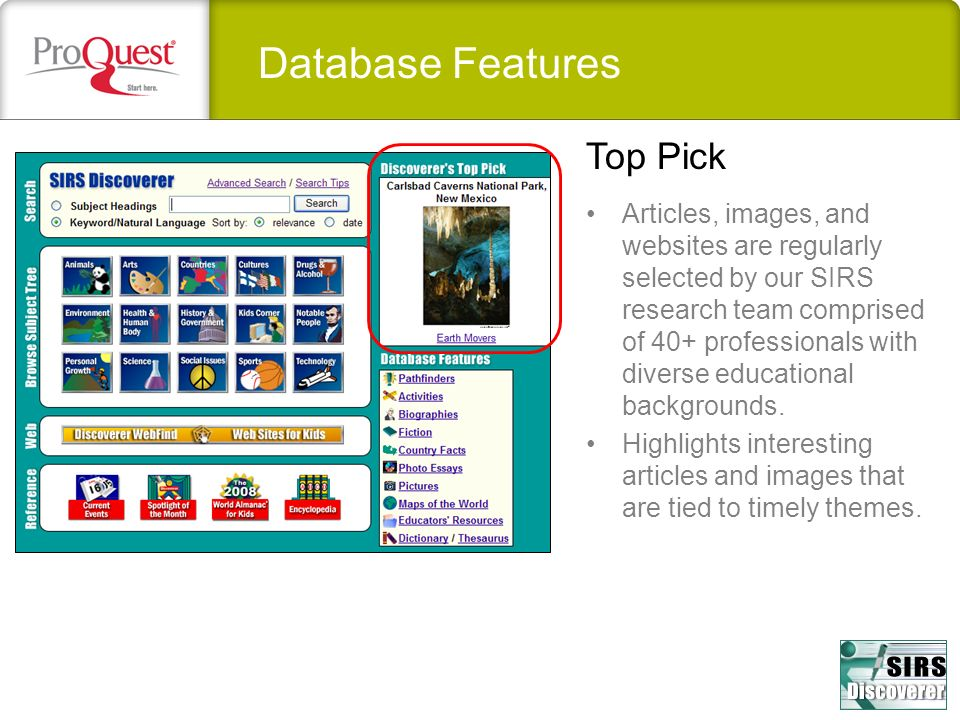 Database Features Top Pick
