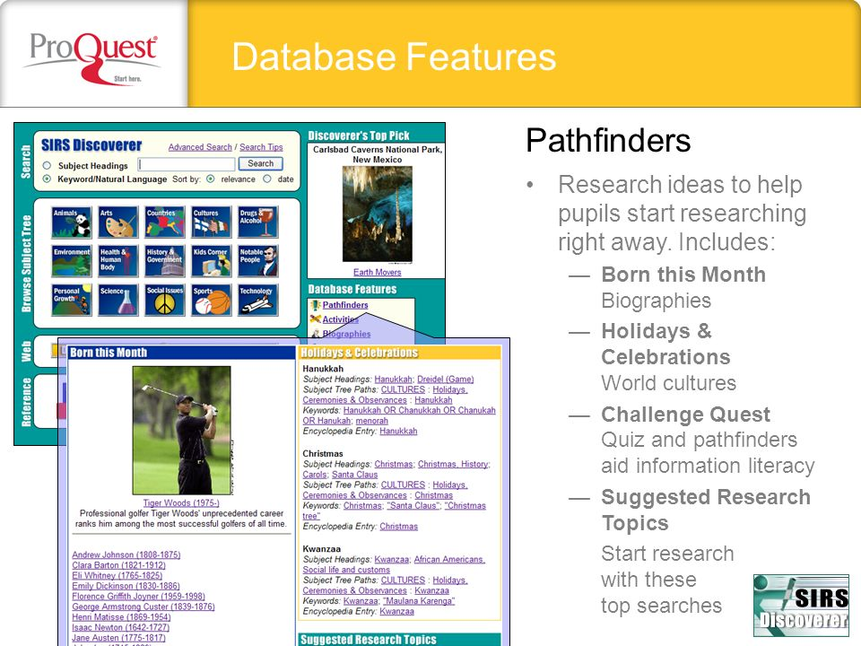 Database Features Pathfinders