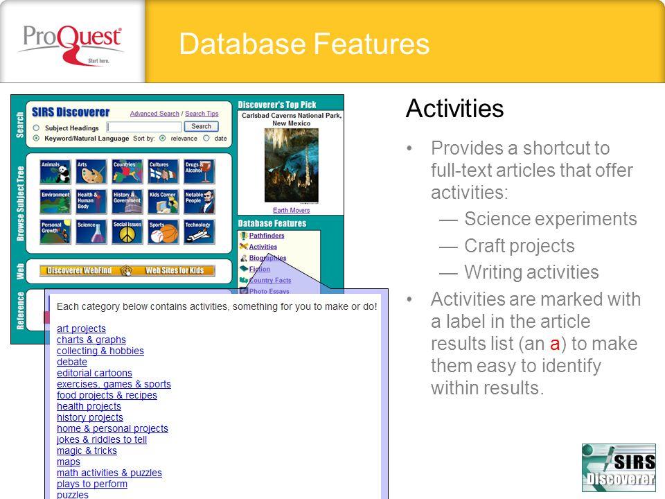 Database Features Activities