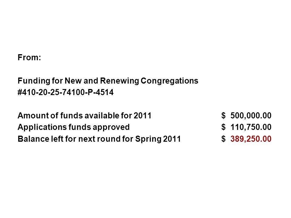 From: Funding for New and Renewing Congregations. #410-20-25-74100-P-4514. Amount of funds available for 2011 $ 500,000.00.