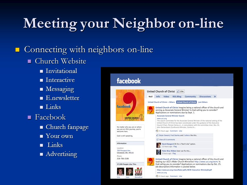 Meeting your Neighbor on-line