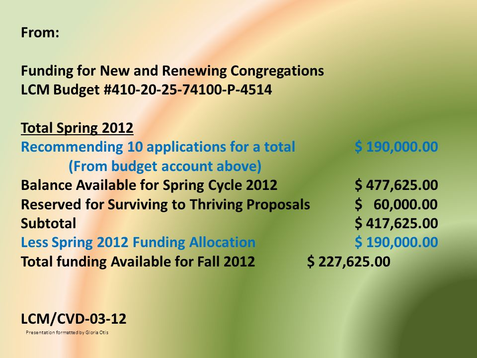 Funding for New and Renewing Congregations