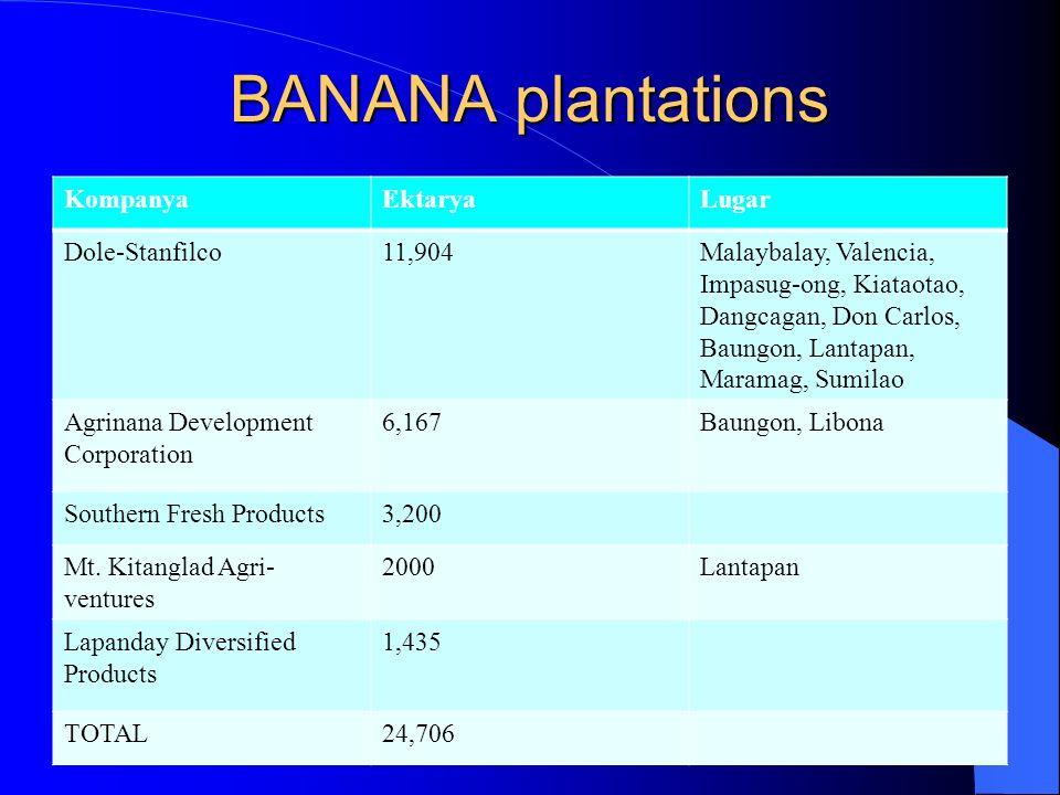 BANANA plantations Kompanya Ektarya Lugar Dole-Stanfilco 11,904