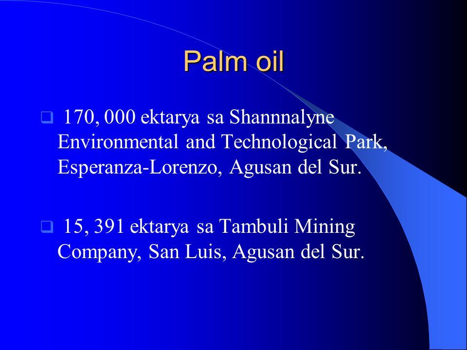 Palm oil170, 000 ektarya sa Shannnalyne Environmental and Technological Park, Esperanza-Lorenzo, Agusan del Sur.