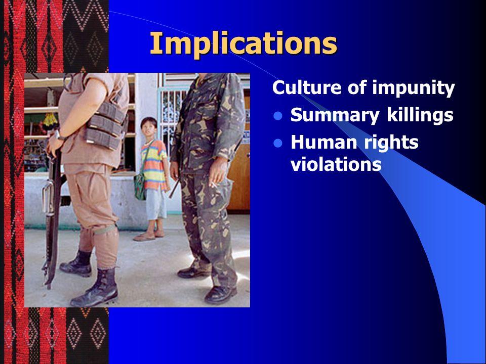 Implications Culture of impunity Summary killings