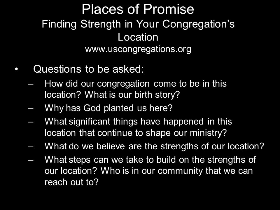 Places of Promise Finding Strength in Your Congregation's Location www