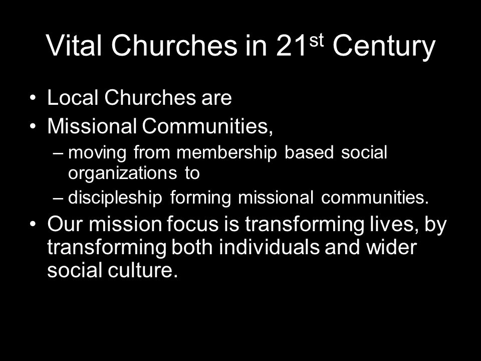Vital Churches in 21st Century