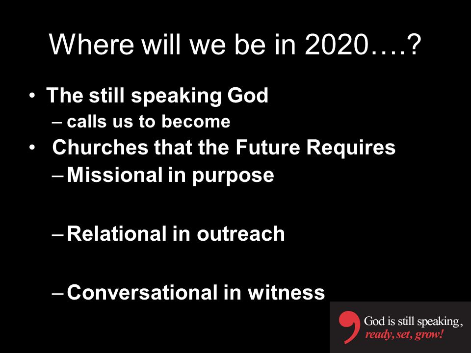Where will we be in 2020…. The still speaking God