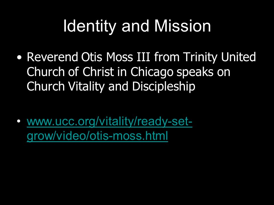 Identity and Mission Reverend Otis Moss III from Trinity United Church of Christ in Chicago speaks on Church Vitality and Discipleship.