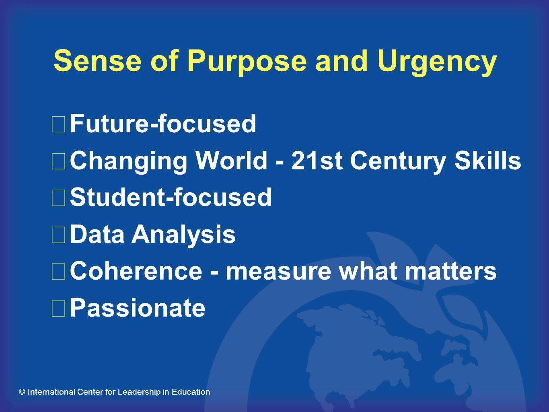 Sense of Purpose and Urgency