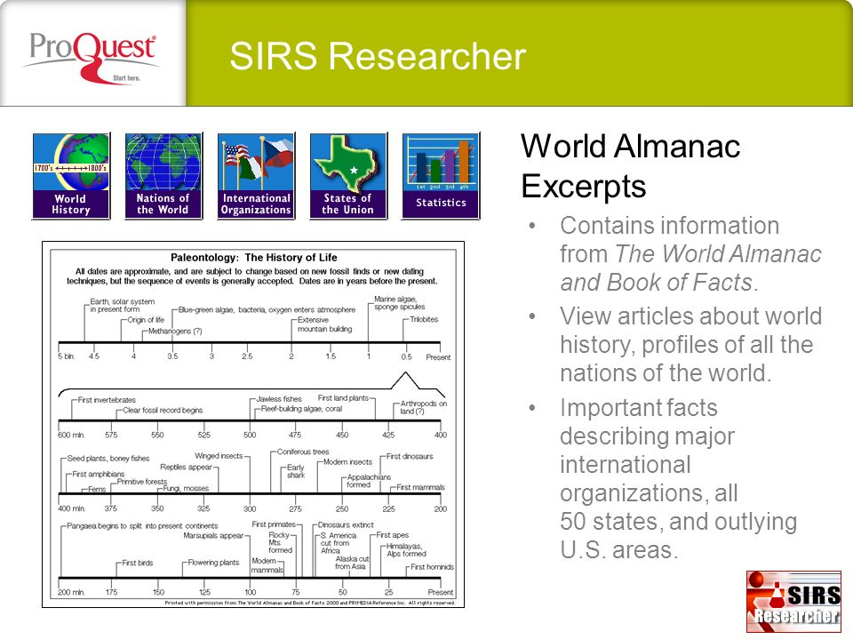 SIRS Researcher World Almanac Excerpts