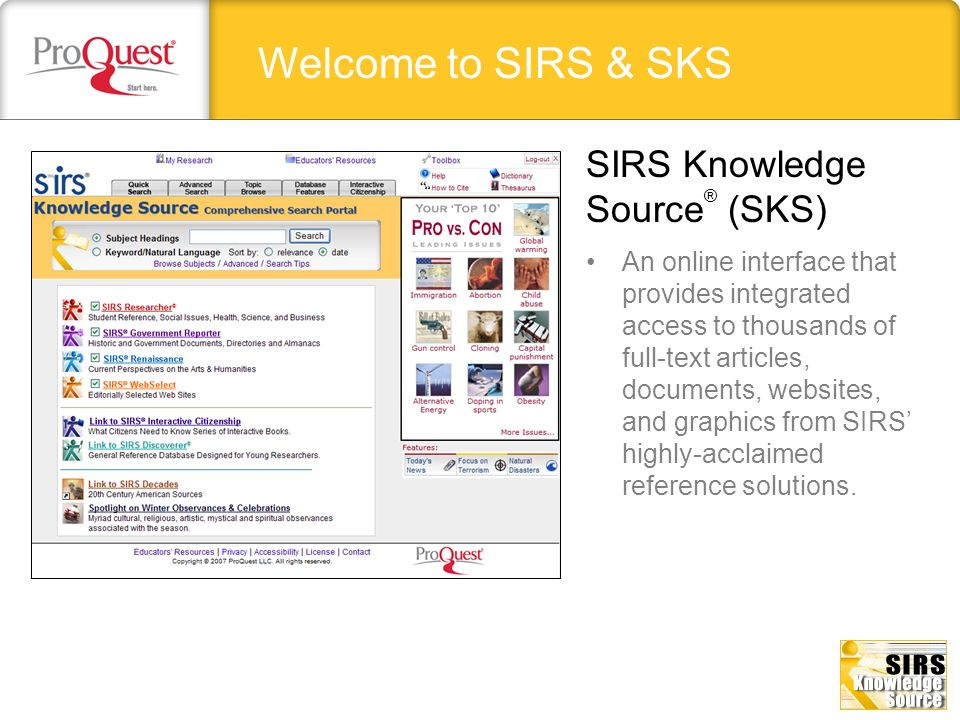 Welcome to SIRS & SKS SIRS Knowledge Source® (SKS)