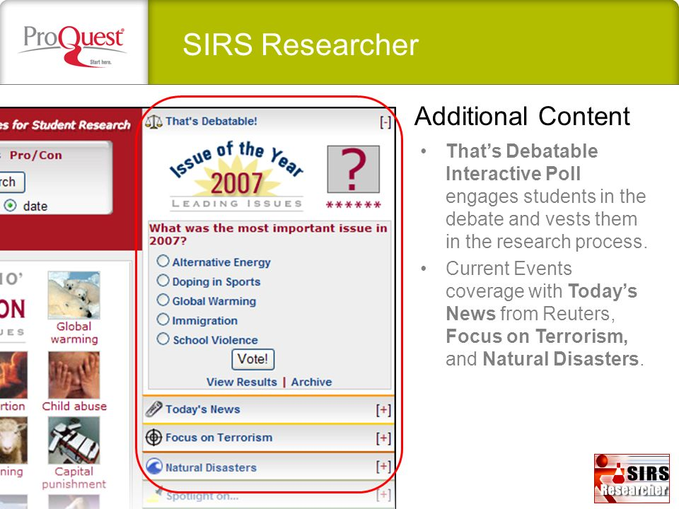 SIRS Researcher Additional Content