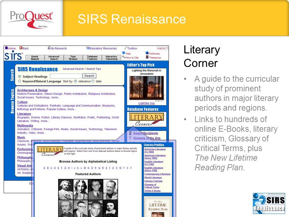 SIRS Renaissance Literary Corner