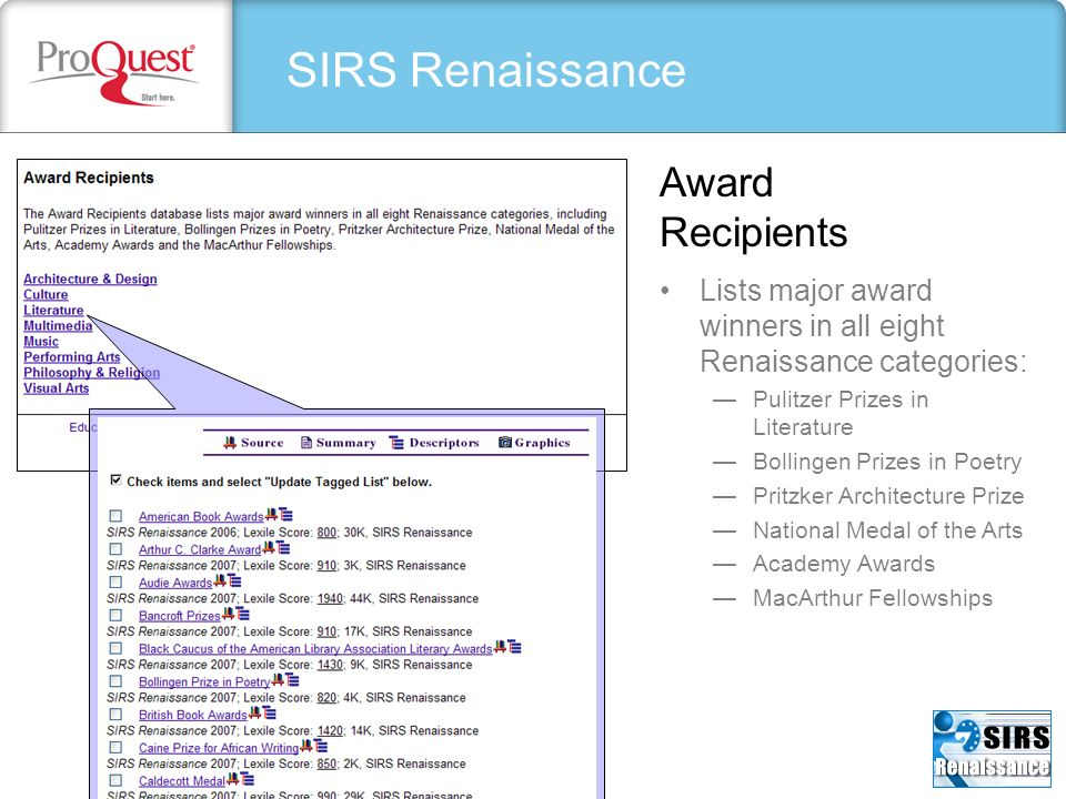 SIRS Renaissance Award Recipients