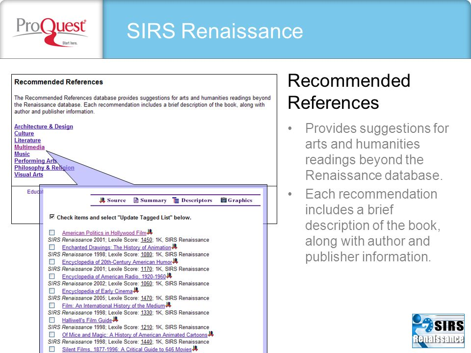 SIRS Renaissance Recommended References