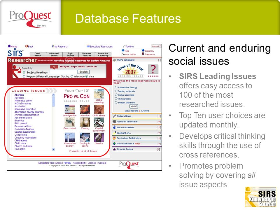Database Features Current and enduring social issues