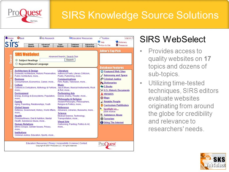 SIRS Knowledge Source Solutions