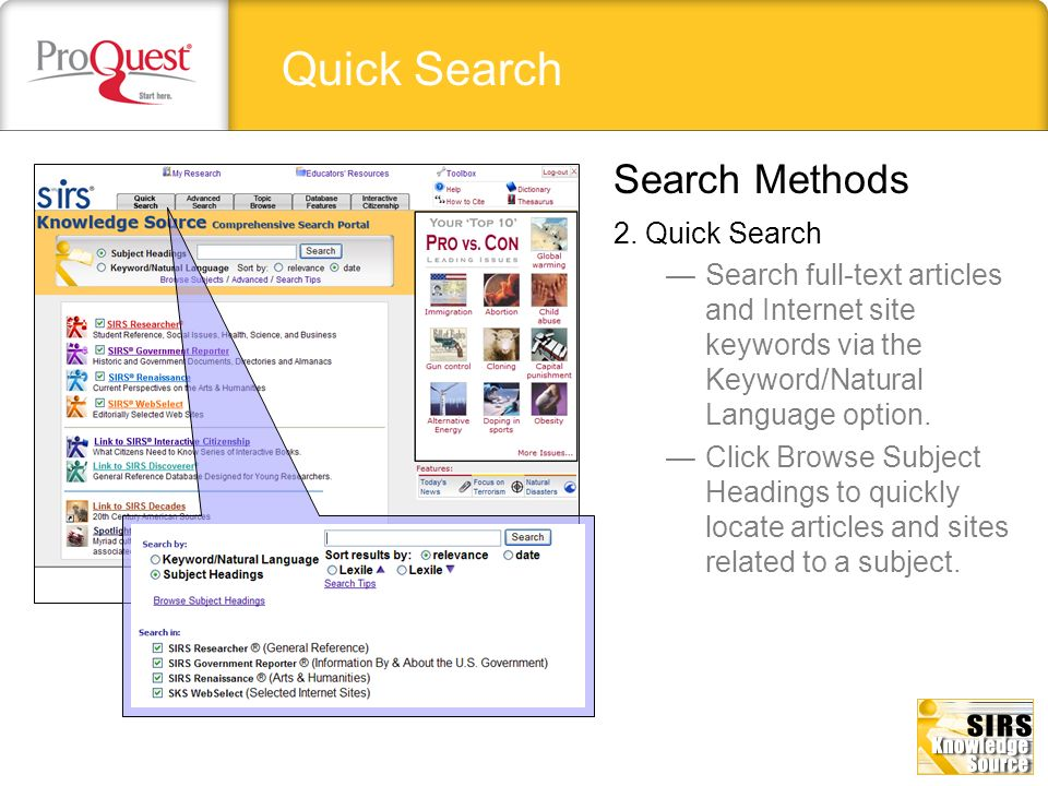 Quick Search Search Methods 2. Quick Search