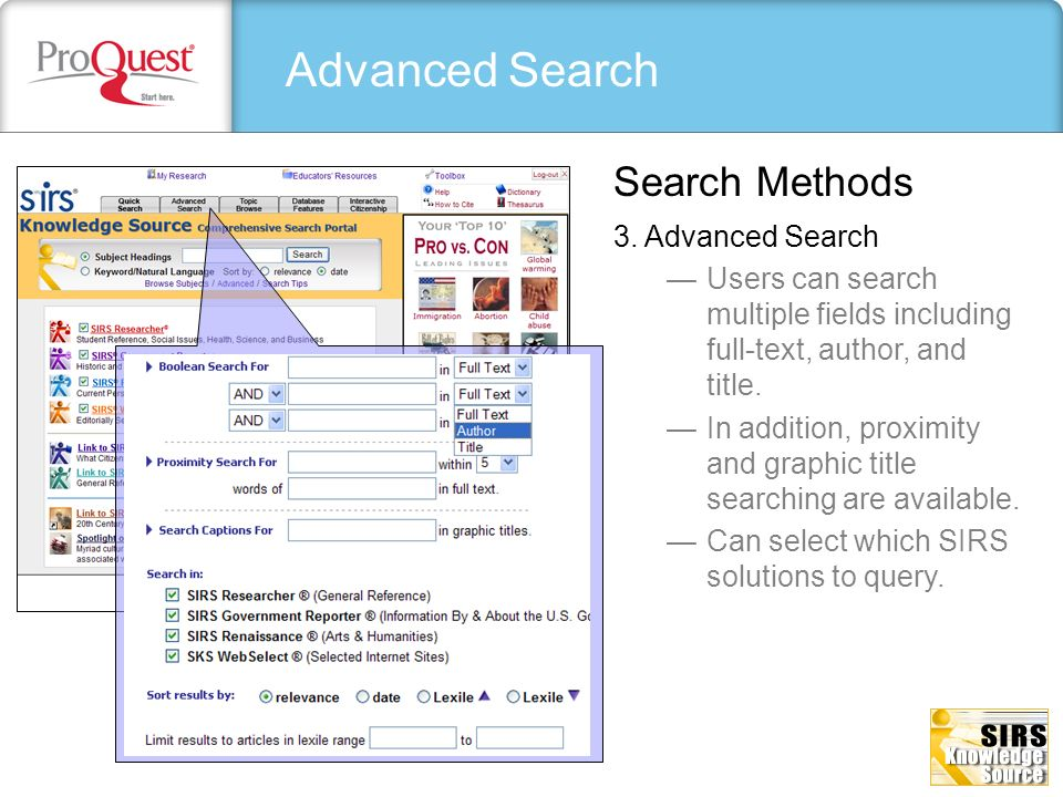Advanced Search Search Methods 3. Advanced Search