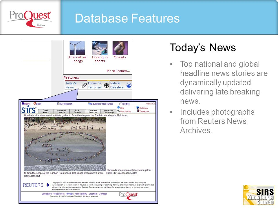 Database Features Today's News