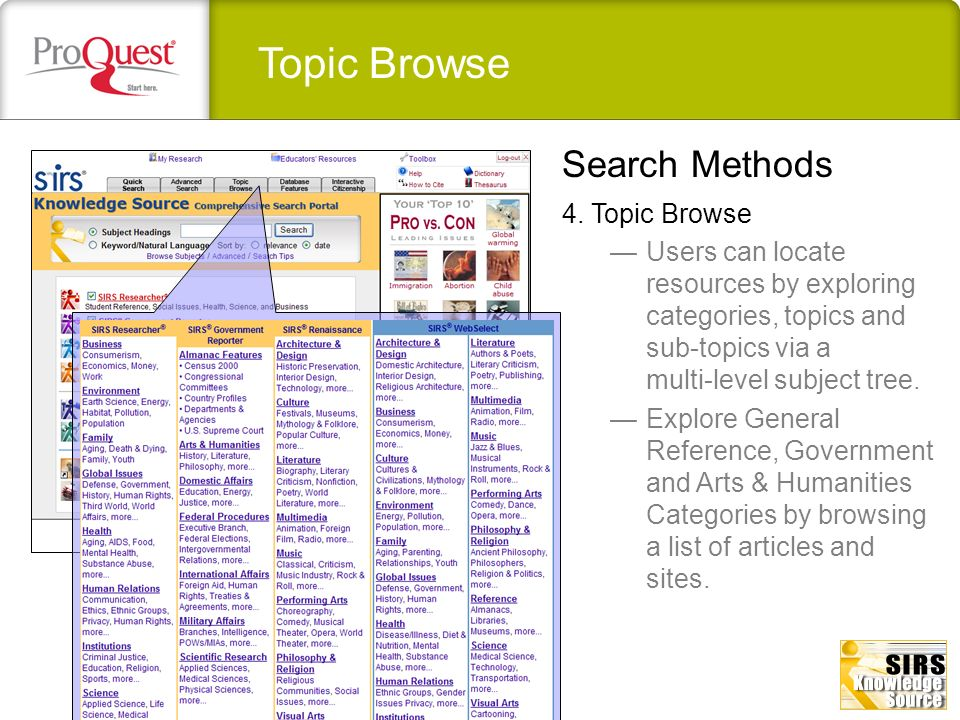 Topic Browse Search Methods 4. Topic Browse