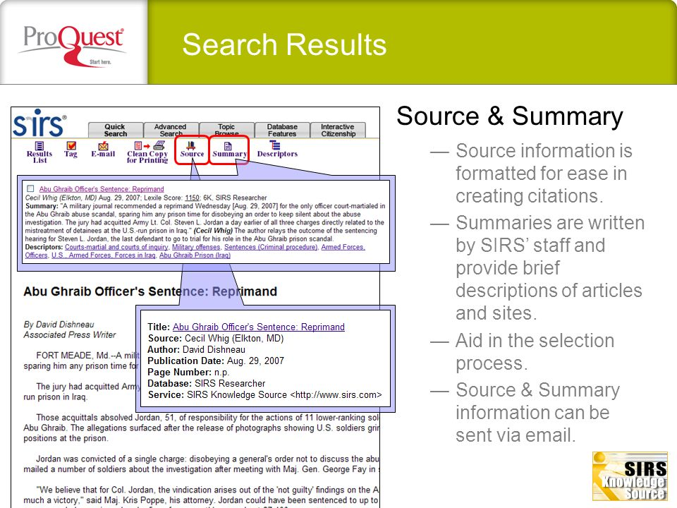 Search Results Source & Summary