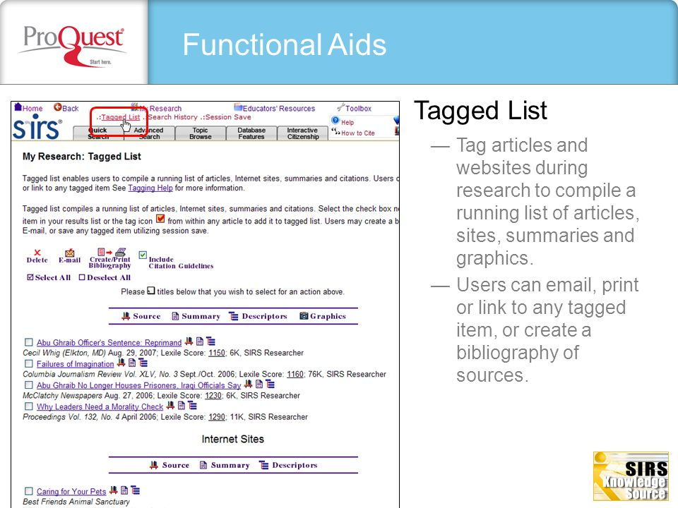 Functional Aids Tagged List
