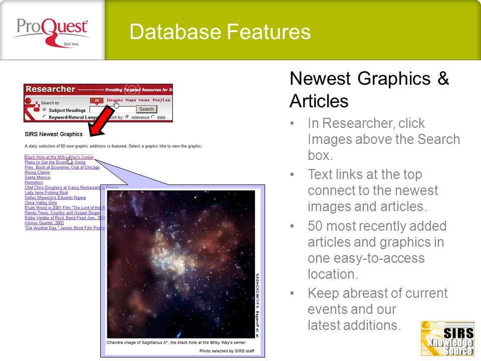 Database Features Newest Graphics & Articles
