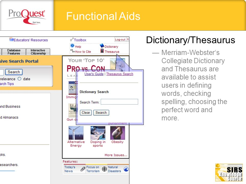 Functional Aids Dictionary/Thesaurus