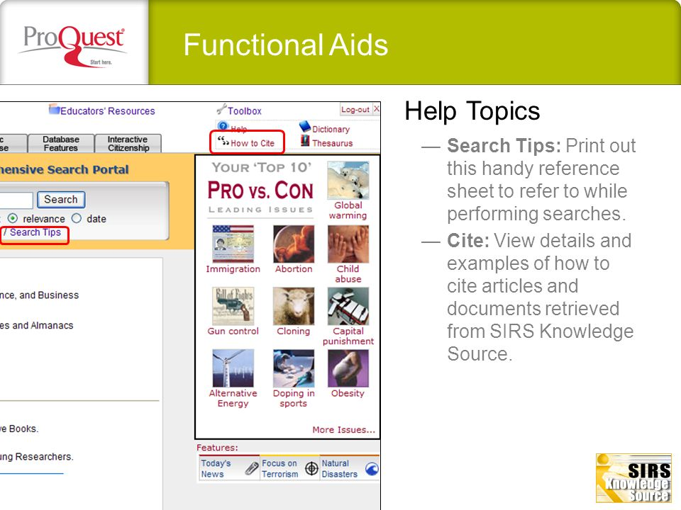 Functional Aids Help Topics