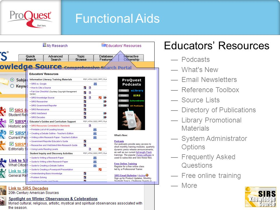 Functional Aids Educators' Resources Podcasts What s New