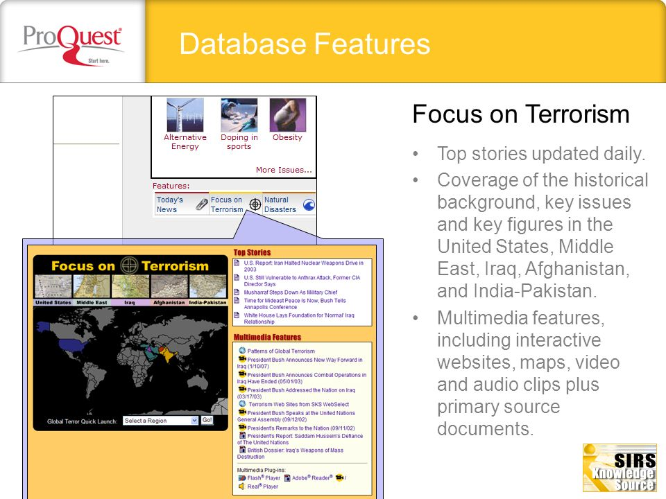 Database Features Focus on Terrorism Top stories updated daily.