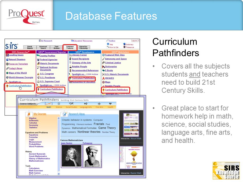 Database Features Curriculum Pathfinders