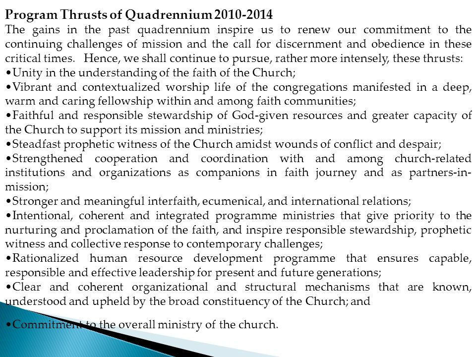 Program Thrusts of Quadrennium 2010-2014