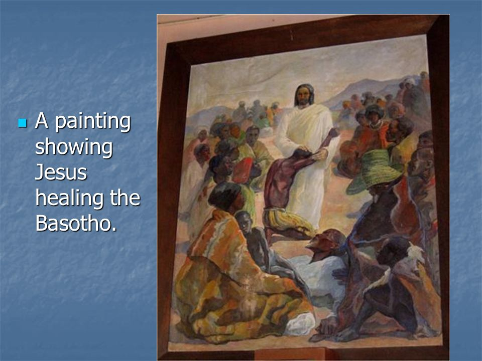 A painting showing Jesus healing the Basotho.