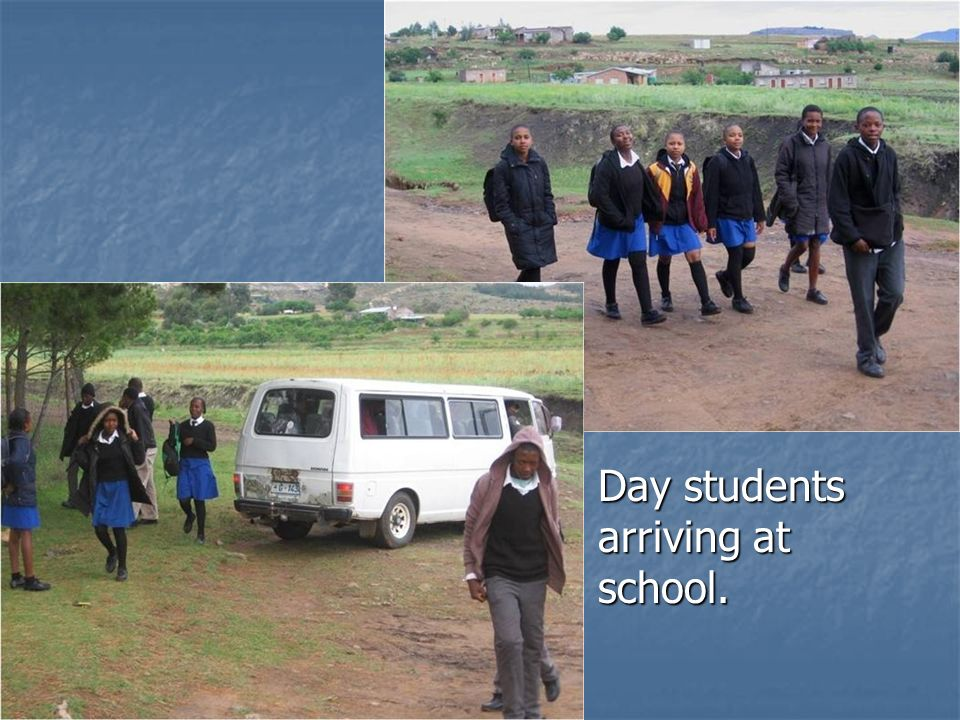 Day students arriving at school.