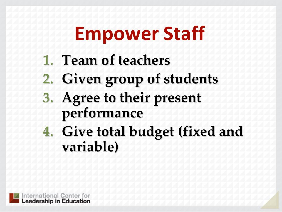 Empower Staff Team of teachers Given group of students