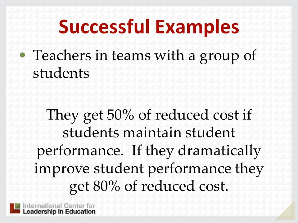 Successful Examples Teachers in teams with a group of students