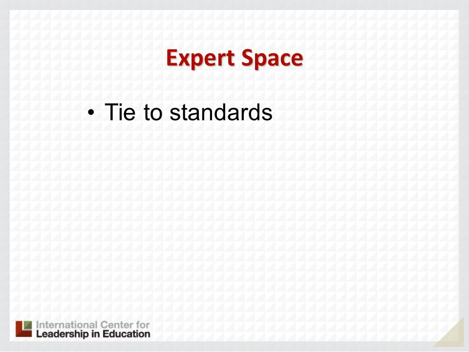 Expert Space Tie to standards