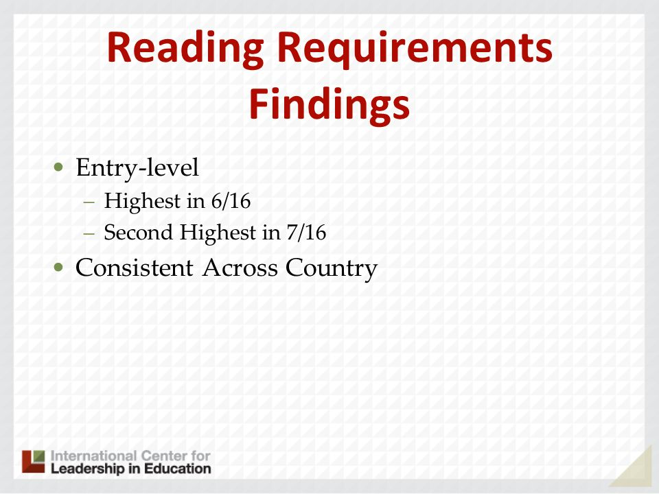 Reading Requirements Findings