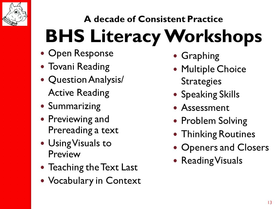 A decade of Consistent Practice BHS Literacy Workshops