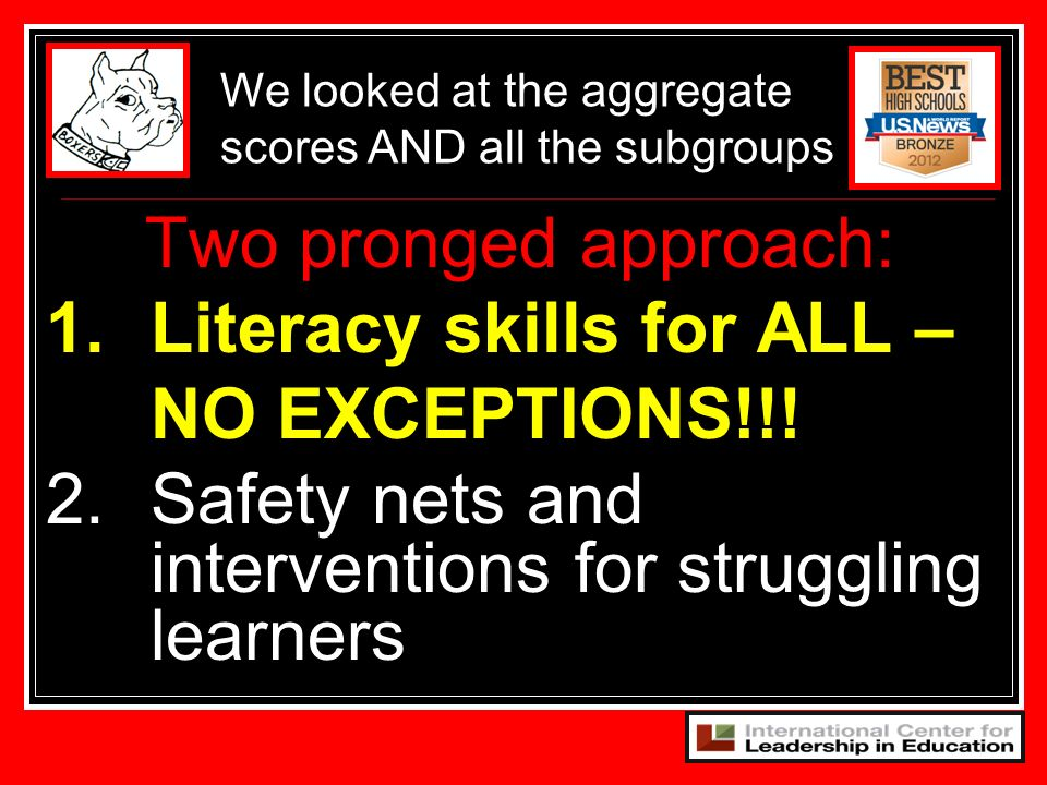 1. Literacy skills for ALL – NO EXCEPTIONS!!!