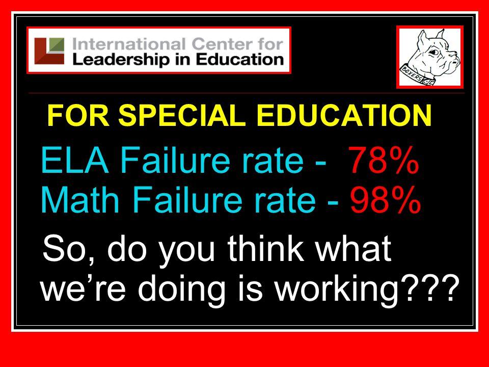 ELA Failure rate - 78% Math Failure rate - 98%