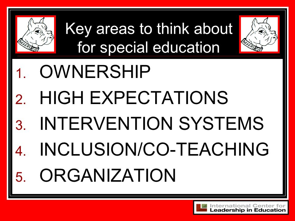 Key areas to think about for special education